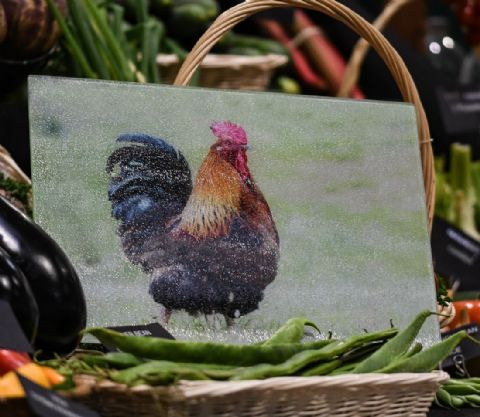 Cockerel Glass Chopping Board Large Size Toughened Glass